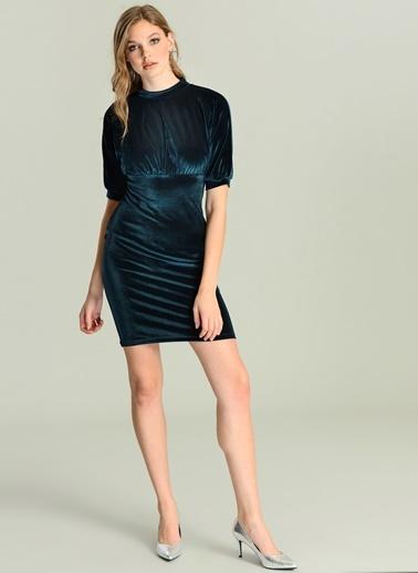 Sırt Detaylı Kadife Elbise-Agenda